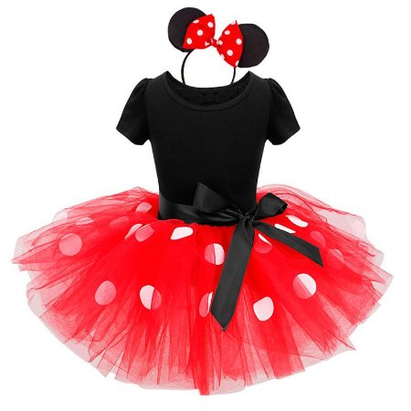 Fantasia Infantil da Minnie com tiara Tam 1 ao 6
