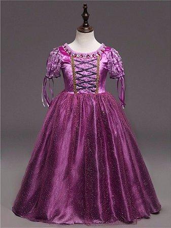 Fantasia Infantil Princesa Rapunzel Enrolados Tam 6 e 8