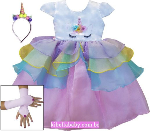 Vestido Infantil Unicónio com Luvinhas e Tiara de cortesia Tam 1 ao 12