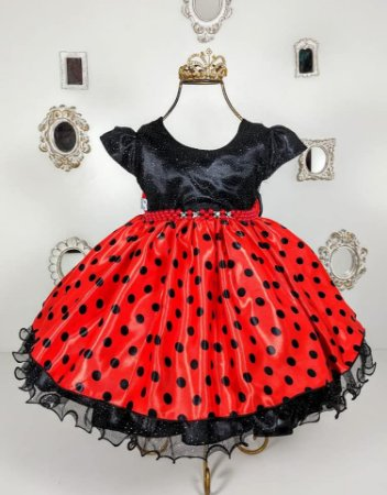 Vestido De Festa Da Minnie Vermelho C/ Laço preto e Tiara