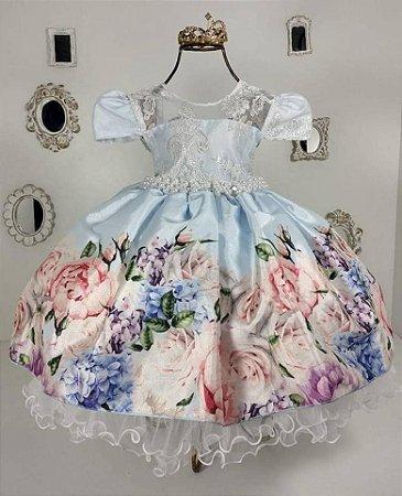 Vestido Infantil Floral Azul 2188