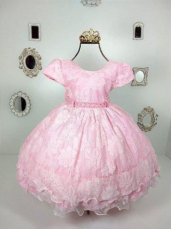 Vestido Infantil Rosa de Renda