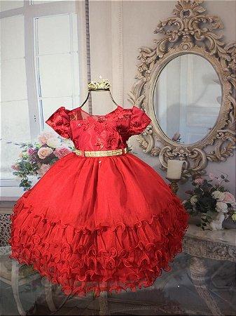 Vestido Infantil vermelho de luxo 1674