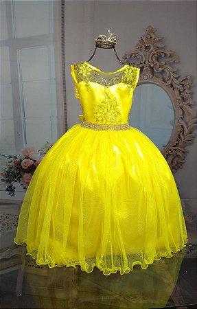 Vestido Bela e a fera infantil amarelo