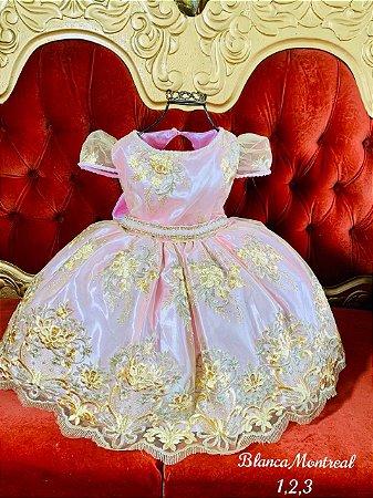 Vestido Realeza infantil Rosa Premium