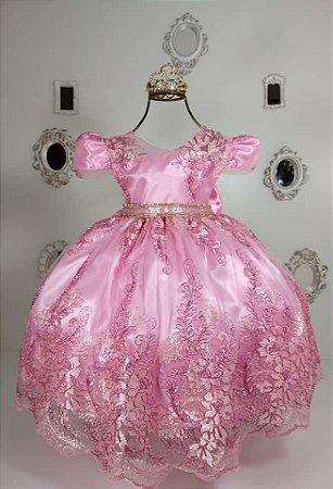 Vestido  Renda  Rosa 2192