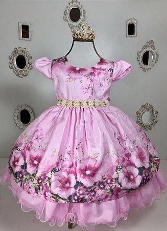 Vestido Floral Rosa 1908