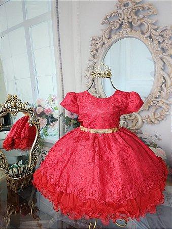 Vestido infantil  Vermelho Europeu 1738
