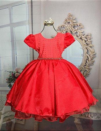 Vestido infantil Vermelho de luxo 1393