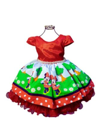 Vestido Minnie vermelha com desenho 003
