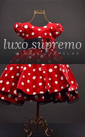 Vestido Minnie vermelha com Bolas Brancas