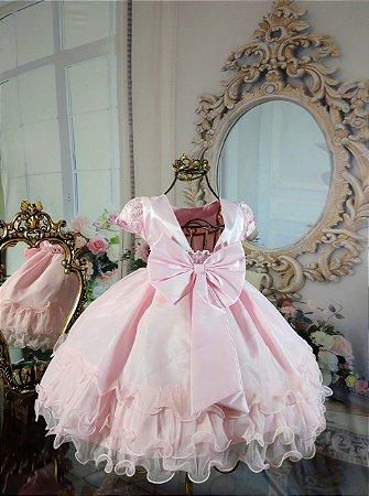Vestido Rosa com Flores 1711