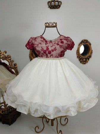 Vestido infantil marsala e nude 2502