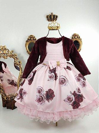 Vestido Infantil estampado com casaco de luxo
