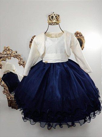 Vestido Azul com nude e casaco de luxo