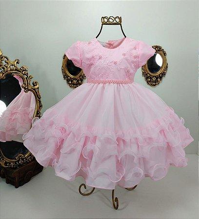 Vestido rosa de princesa infantil 2456