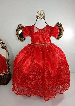 Vestido Infantil Vermelho Realeza 2192