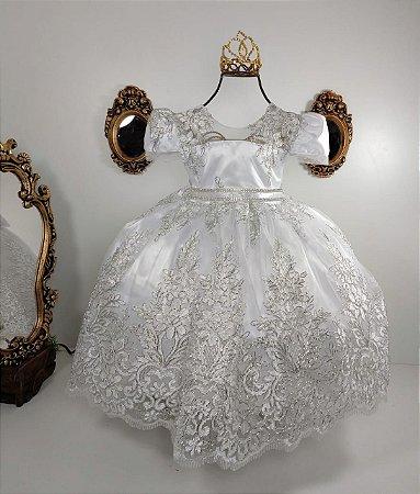 Vestido infantil Realeza branco com prata 2192