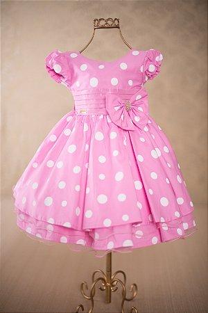 Vestido infantil rosa com bolinhas brancas 1690