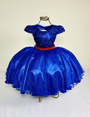 Vestido Glitter Baby Azul Royal  2140