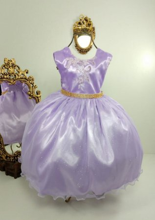 Vestido Glitter Baby Lilás 2140