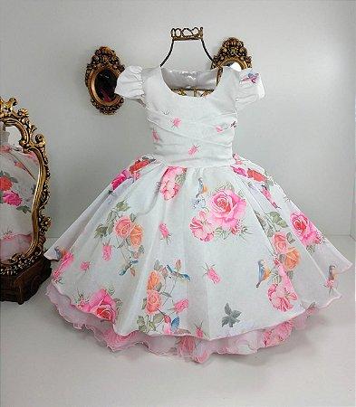 Vestido Infantil com Flores 2572