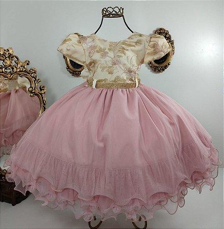 Vestido infantil Rose com Saia nude 1855