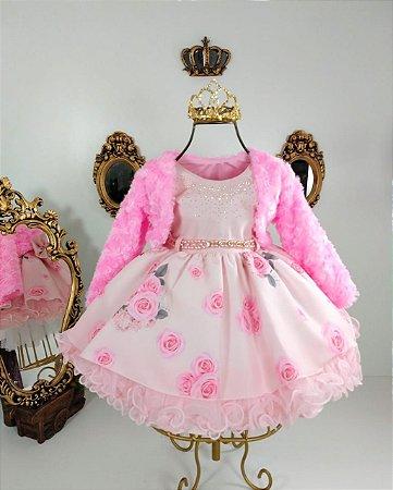 Vestido infantil rosa com casaco para bebe 1837