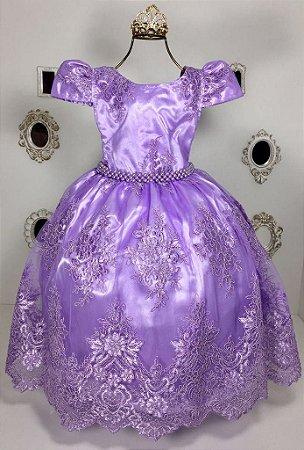 Vestido lilás Realeza luxo