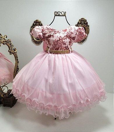 Vestido  Rosa bordado marsala 1858