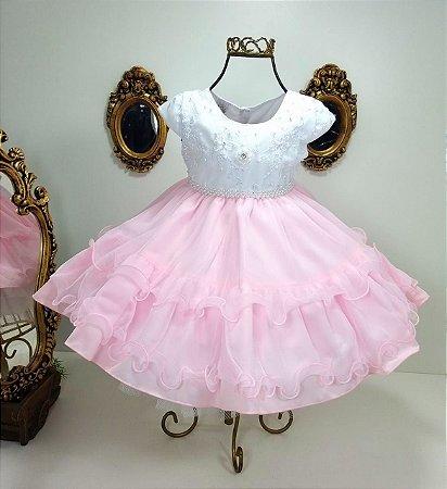 Vestido infantil rosa e branco 2267