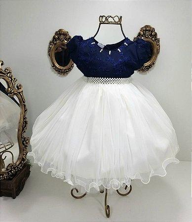 Vestido azul marinho com branco 2378