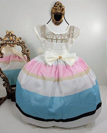 Vestido infantil com listras 1410