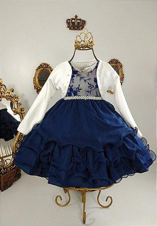 Vestido infantil Nude com azul marinho  e casaco 2498