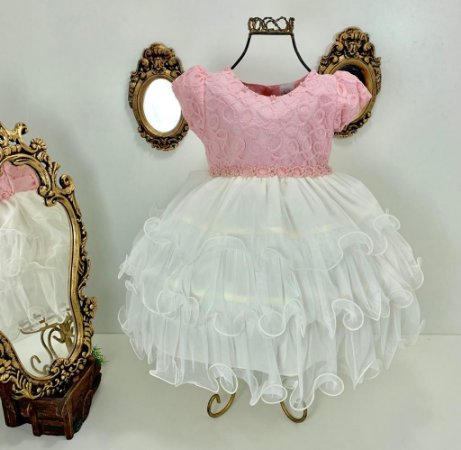 Vestido infantil rosa com creme 2538