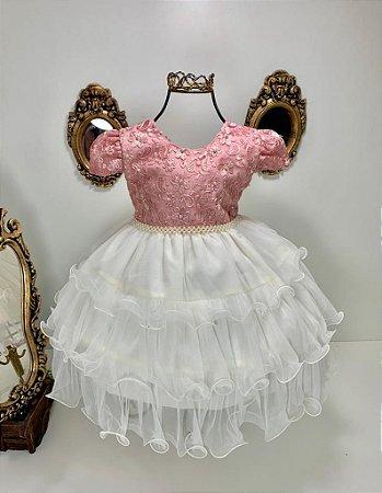 Vestido infantil rosé com creme 2538