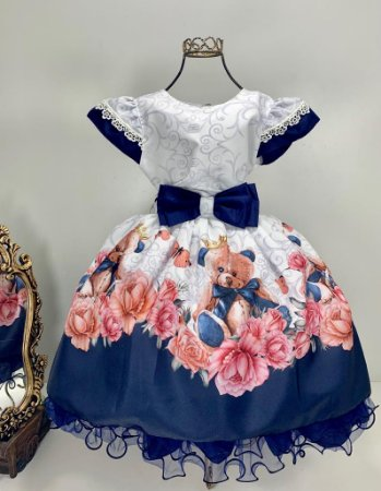 Vestido Branco com  Azul marinho e flores