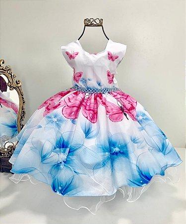 Vestido estampado borboleta Pink 1444