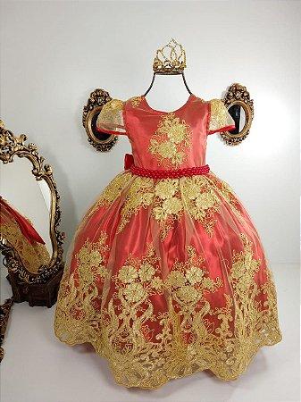 Vestido realeza vermelho com dourado
