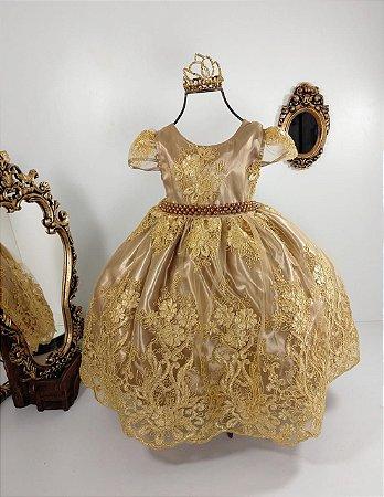 Vestido realeza   ocre com dourado 1001