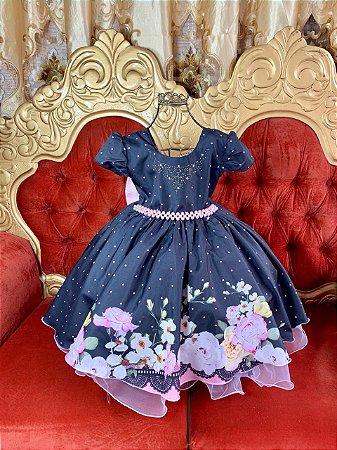 Vestido Floral PRETO 1463