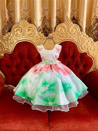 Vestido estampado borboleta verde 1444