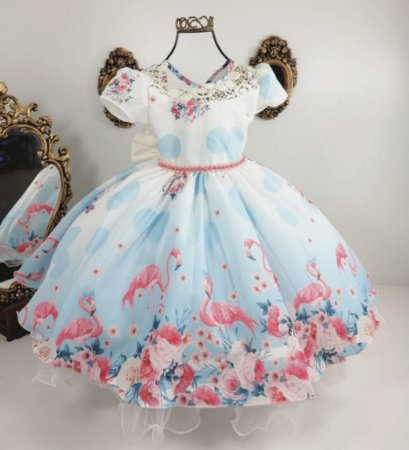 Vestido infantil flamingo 1441