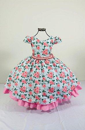 Vestido infantil floral Verde 1458