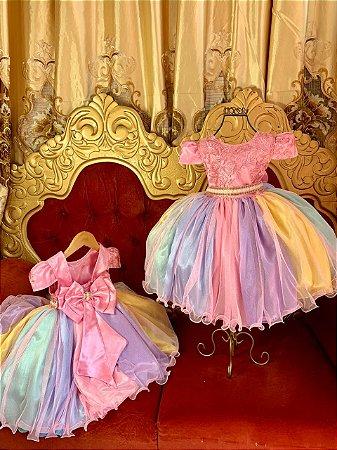 Vestido infantil Unicórnio de Luxo 2207