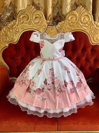 Vestido  Off White com rosa 2645