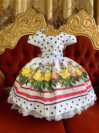 Vestido  Branco  flores amarelas 2619