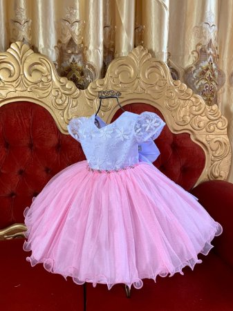 Vestido Infantil Rosa e branco 2119
