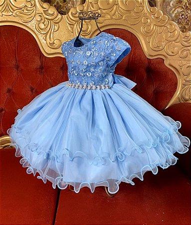 Vestido Infantil Azul  Claro