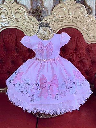 Vestido  infantil  rosa com laço 1863